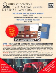 Page one from Brochure for OACDL DUI seminar March 10-12 2016