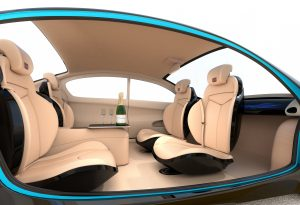 Driverless car interior with champaign bottles