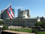 Statehouse with Ohio flag